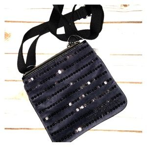 Juicy Couture navy sequin crossbody w/black strap